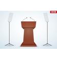 Wooden Podium Tribune with Microphones vector image