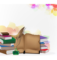 Books and feather on floral background vector image