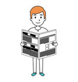 young man reading newspaper avatar character vector image
