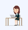 business woman working on laptop vector image