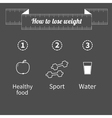 Three step weight loss infographic Healthy food vector image