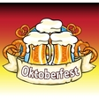 Oktoberfest label with beer and pretzels vector image