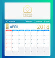 april 2018 calendar or desk vector image