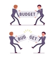 Businessmen are pulling and tearing a word budget vector image