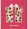 Gift card template with sweets chocolate and vector image
