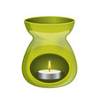 green aromatherapy lamp oil burner spa icon flat vector image