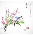 Sakura in blossom bamboo branch and blue bird vector image