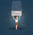 woman girl win big money holding cheque cartoon vector image