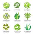 circle green leaf logo set vector image