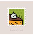 Piece of pumpkin pie stamp Thanksgiving vector image