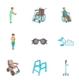 Care and accessibility icons set cartoon style vector image