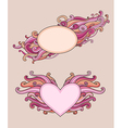 Vintage banners for Valentines Day with curls vector image vector image