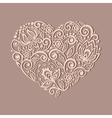 heart symbol decorated with floral pattern vector image