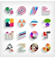 3d flat geometric abstract business icon set vector image