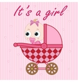 Little baby girl in the baby carriage vector image