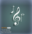 musical notes icon On the blue-green abstract vector image