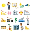 Crisis symbols business sign finance flat vector image