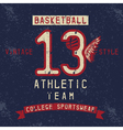 old college vintage style print design with vector image