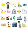Crisis symbols business sign finance flat vector image