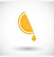 orange segment with drop of juice flat icon vector image