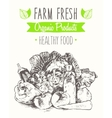 Organic product farm healthy food poster drawn vector image