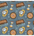 Seamless pattern with clocks and watches vector image