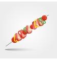 shashlik - grilled meat and vegetables vector image