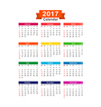 2017 Year calendar isolated on white background vector image