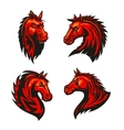 Fire horses mascots with tribal flame ornaments vector image vector image