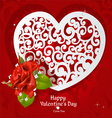 Valentine paper applique with a red rose and diamo vector image