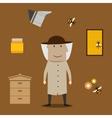 Beekeeper man and beekeeping objects vector image