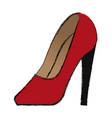 cartoon red women shoe luxury accessory vector image