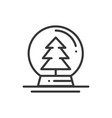 christmas snow ball thin line icon christmas tree vector image
