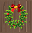 christmas wreath template on wooden background vector image