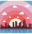 City on a background sunset Silhuette of town vector image