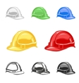 hard hat safety helmet set building under vector image