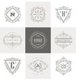 Set of Monogram calligraphic logo vector image
