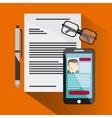 businessman smartphone pen cv document glasses vector image