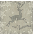 christmas deer with snowflakes on wood vector image vector image