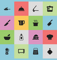 set of 16 editable cook icons includes symbols vector image