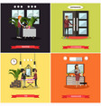 set of hotel square posters in flat style vector image