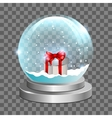 Snow globe with gift box vector image