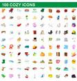 100 cozy icons set cartoon style vector image