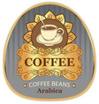 label for coffee beans arabica with cup and sun vector image