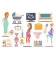 pregnancy flat icon set vector image