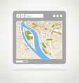 Modern web browser window with a map vector image vector image