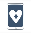Tablet or smartphone with red cross heart emblem vector image vector image