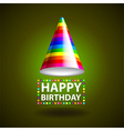 Happy birthday background with party hat vector image vector image