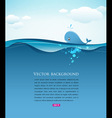 whale in blue sea background vector image vector image