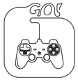 Gamepad in hands icon - game console controller vector image
